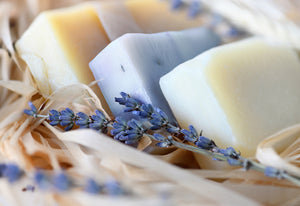 Hand cut soap bars with dried lavender