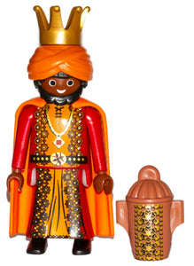Playmobil 9497 Wise King 30 00 2884 black hair and beard, brown skin, red/gold robes and 30 08 8602 & 30 64 7045 Canopic Jar