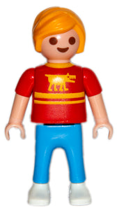 Playmobil 30 10 2550 child boy with shaggy blond hair, red shirt with blue pants and white shoes