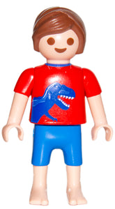 Playmobil 30 10 3500 child boy Patient, brown hair, red shirt with dinosaur, bare feet 6659