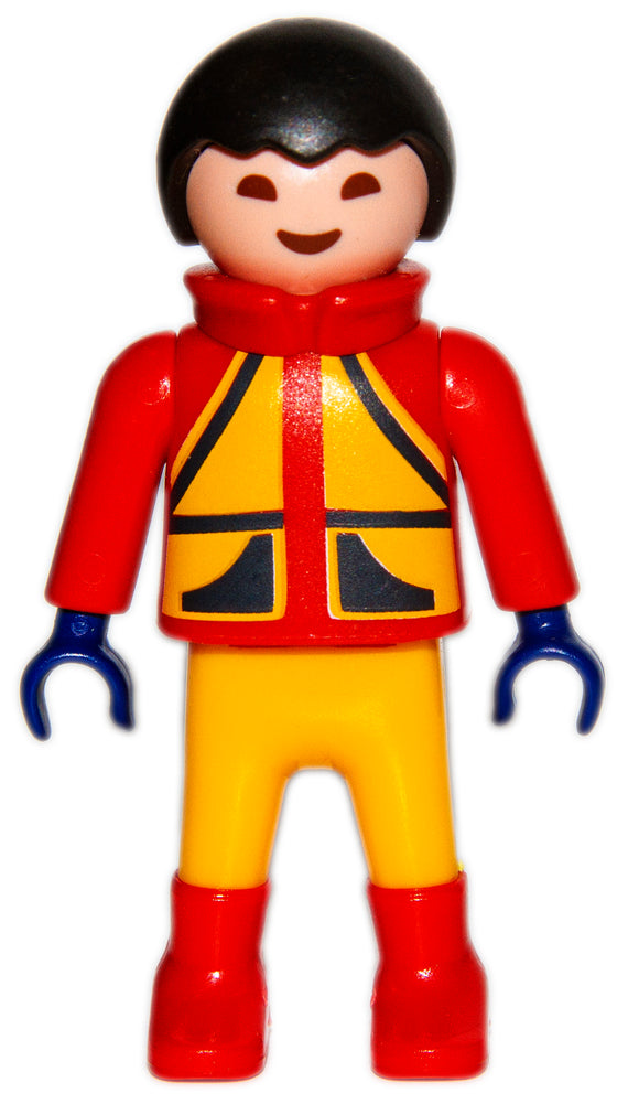 Playmobil 30 10 3990 child boy, black hair, red/yellow snow suit 9283