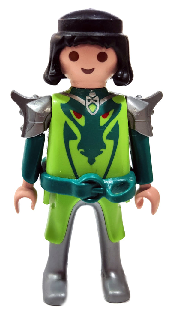 Playmobil 4912 Green Dragon Knight, black hair, armoured shoulders