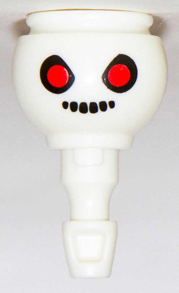 Playmobil White Ghost Skeleton Head Face Red eyes