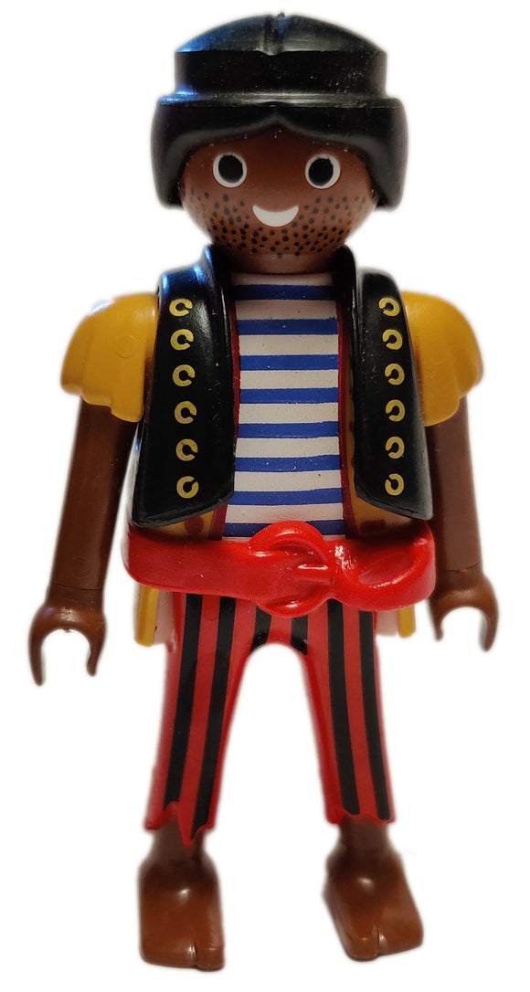 Playmobil 6434 Pirate black hair brown skin blue red striped shirt bare feet