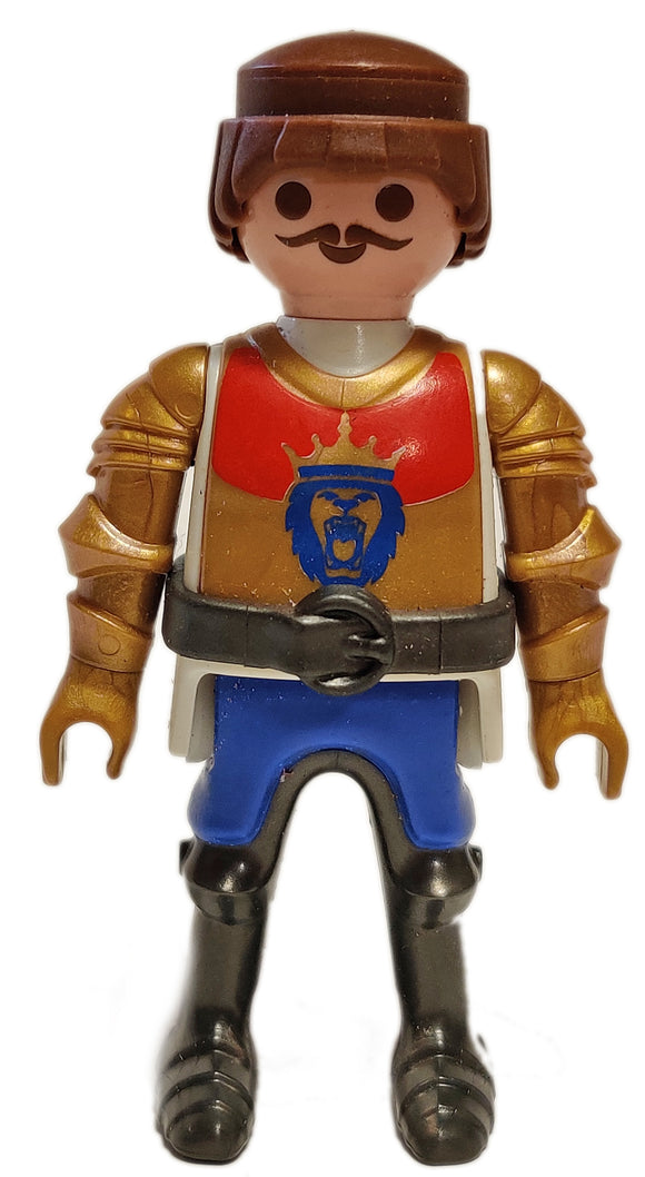 Playmobil 6379 Lion knight brown hair moustache gold black armour red gold tunic