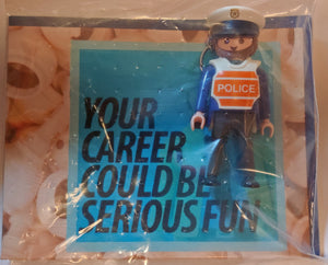 Playmobil KEYCHAIN Police officer male blue uniform policeman careers