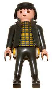 Playmobil Criminal thief black jacket yellow plaid shirt