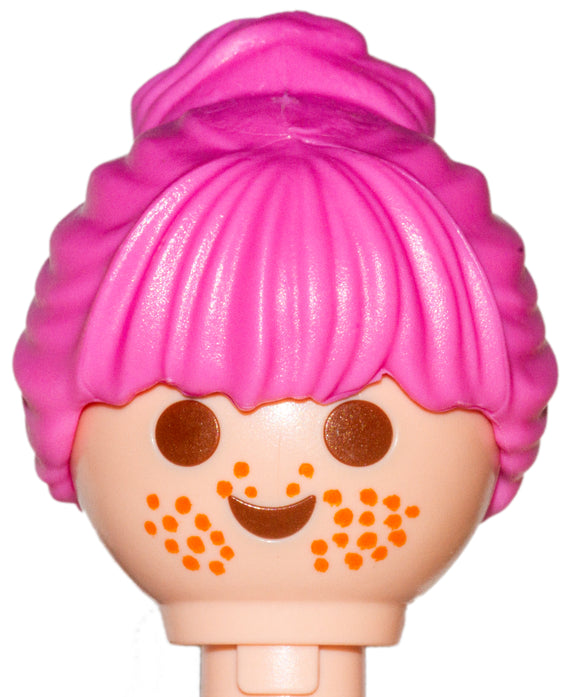 Playmobil Female Pink Hair Wig put up in large bun (No Face)