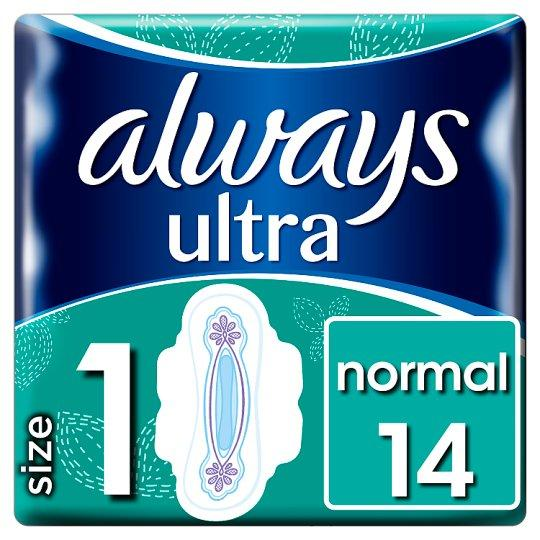 Always Ultra Normal Size 1 Sanitary Towels With Wings 14 Pack (Tesco) - Tesco