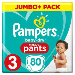 Pampers Baby Dry Size 3 Jumbo Plus Pack Nappy Pants 80 - Tesco