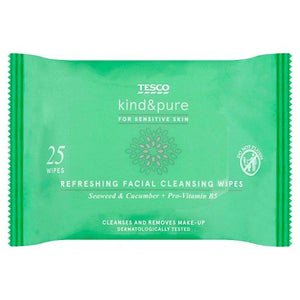 Tesco Kind And Pure Refresh Facial Wipes 25 Pack - Tesco