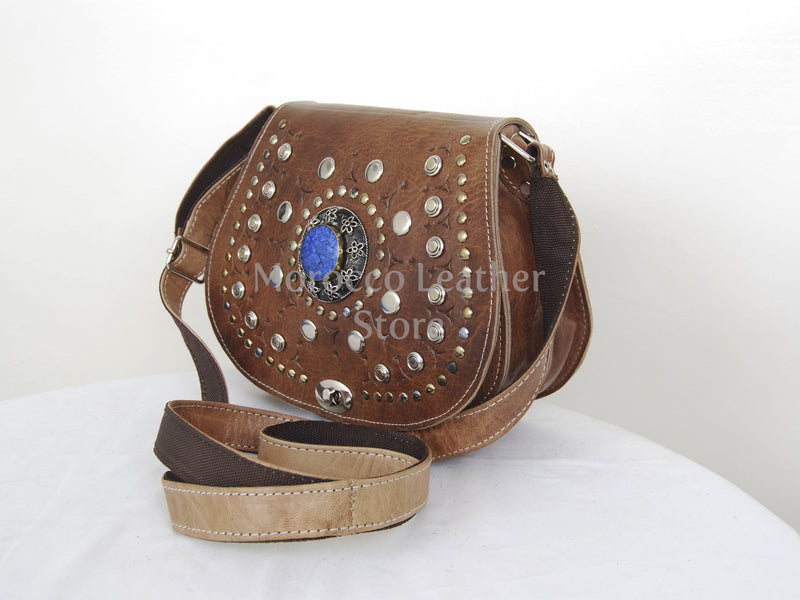 Handmade Cow Leather Crossbody Medallion Bag - Morocco Leather Store