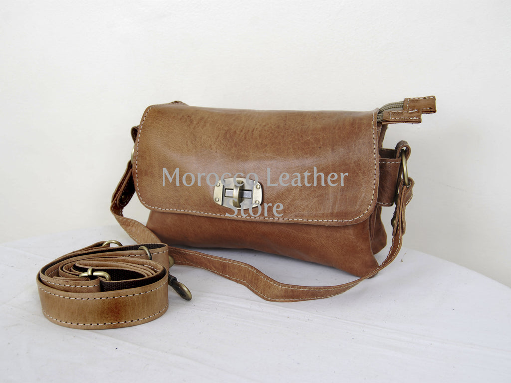 Stylish Goat Leather Shoulder Bag - Morocco Leather Store
