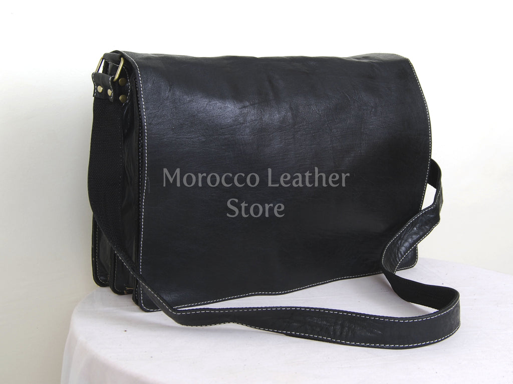 Authentic Black Goat Leather Men's Satchel - Morocco Leather Store