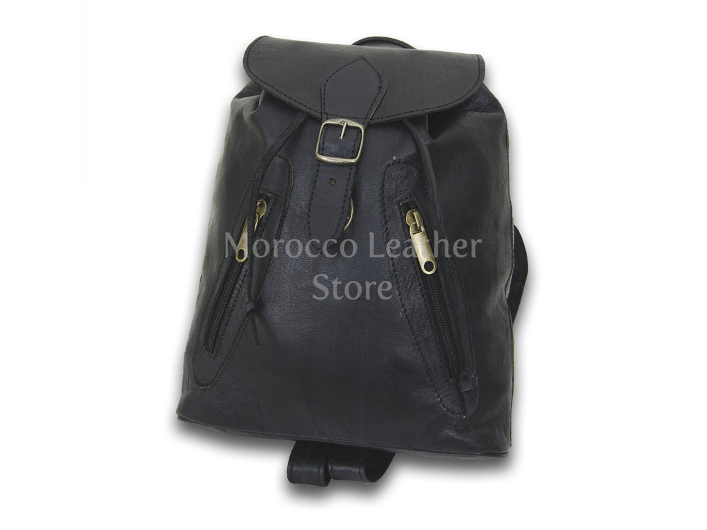 Black Handmade Genuine Leather Rucksack - Morocco Leather Store