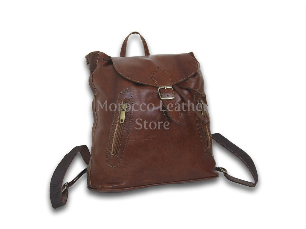 Casual dark brown genuine Leather Backpack - Morocco Leather Store