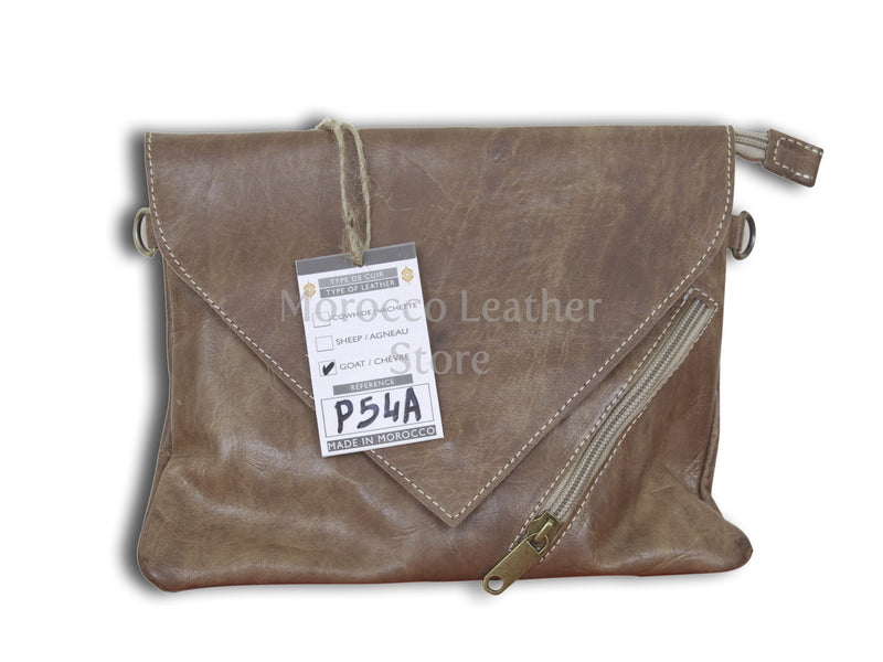 Genuine Leather Clutch With Adjustable Strap - Morocco Leather Store