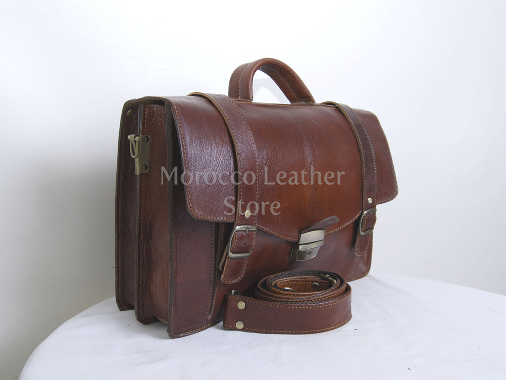 Handmade Goat Leather Messenger Bag - Morocco Leather Store
