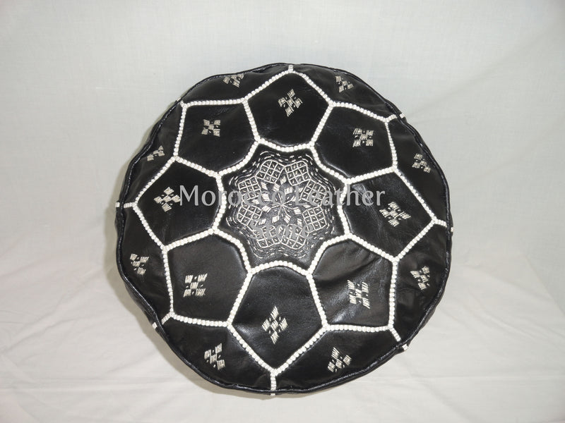 Handmade Moroccan Black Embroidered Leather Pouf - Morocco Leather Store