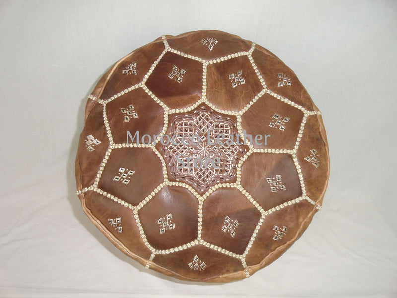 Handmade Moroccan Natural Embroidered Leather Pouf - Morocco Leather Store