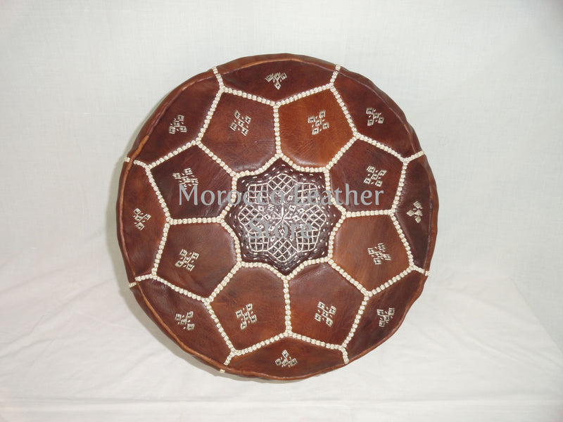Handmade Moroccan Light Brown Embroidered Leather Pouf - Morocco Leather Store
