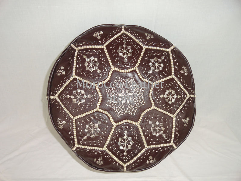 Handmade Moroccan Dark Brown Embroidered Leather Pouf - Morocco Leather Store