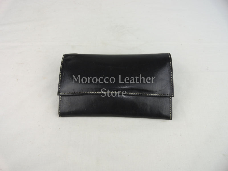 Black Large Leather Wallet - Morocco Leather Store