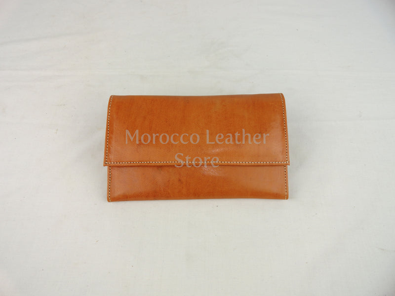 Large light brown Leather Wallet - Morocco Leather Store