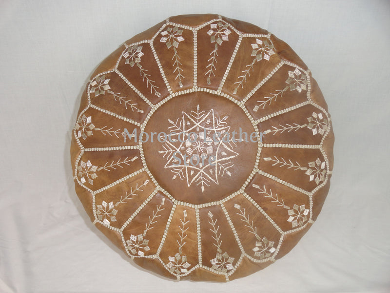 Marrakech Handmade Natural Embroidered Leather Pouf - Morocco Leather Store