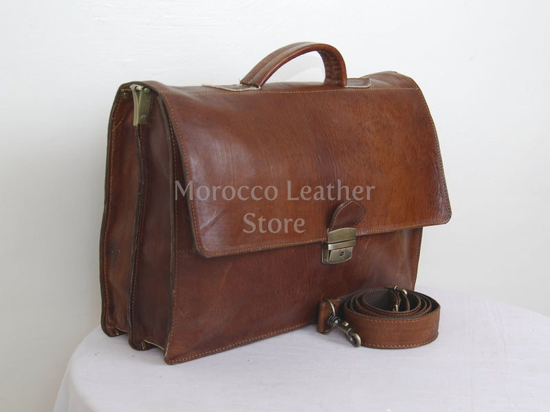 Genuine Moroccan Leather Briefcase for Men - Morocco Leather Store