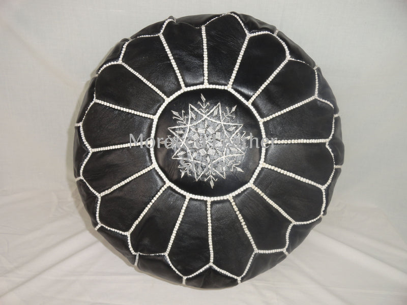 Moroccan Original Black embroidered Pouf. - Morocco Leather Store