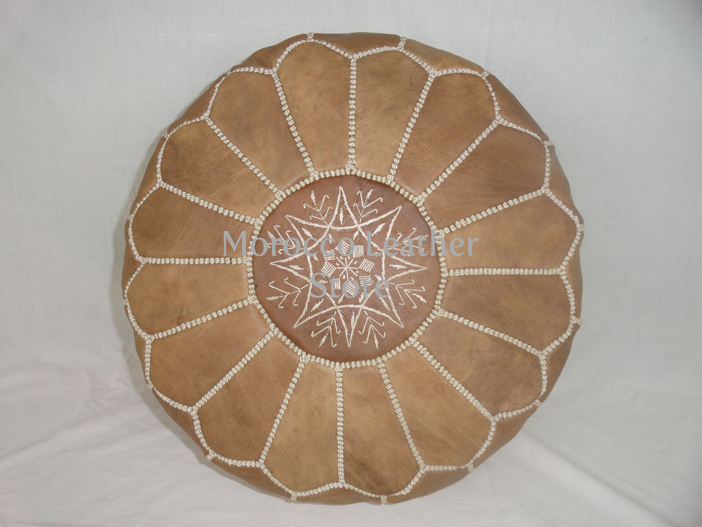 Moroccan Original embroidered Pouf - Morocco Leather Store