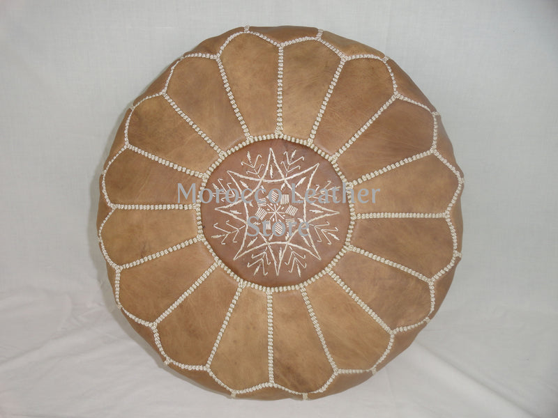 Moroccan Original Natural embroidered Pouf. - Morocco Leather Store