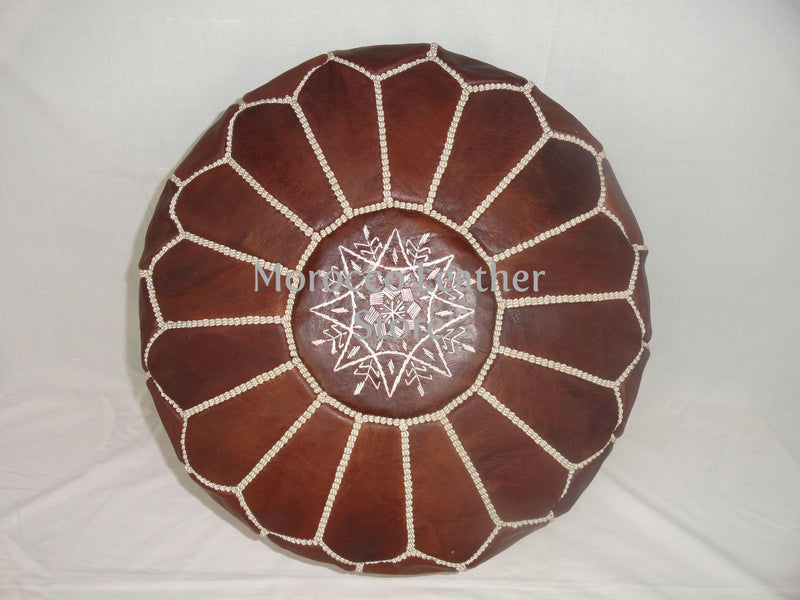 Moroccan Original Light Brown embroidered Pouf. - Morocco Leather Store