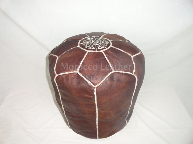 Genuine Moroccan Dark Brown leather Stool - Morocco Leather Store