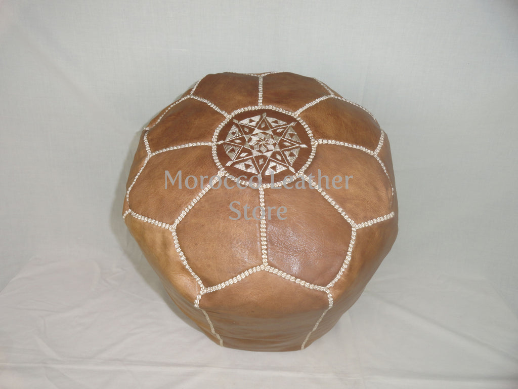 Genuine Moroccan Natural leather Stool - Morocco Leather Store
