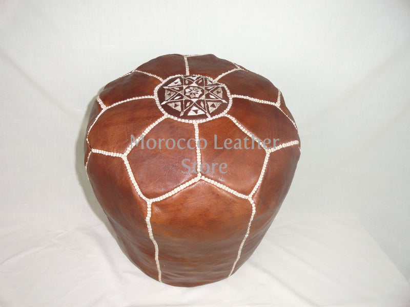 Genuine Moroccan Light Brown leather Stool - Morocco Leather Store