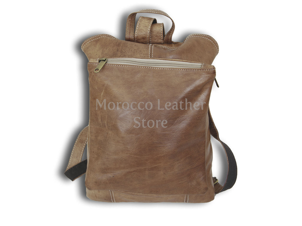 Simple simple design goat leather Backpack - Morocco Leather Store