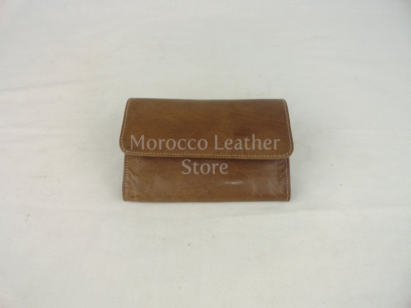 Light brown Simple Authentic leather wallet - Morocco Leather Store
