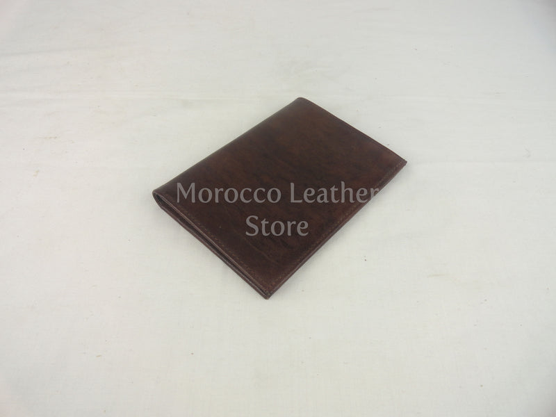 Dark brown genuine leather wallet - Morocco Leather Store