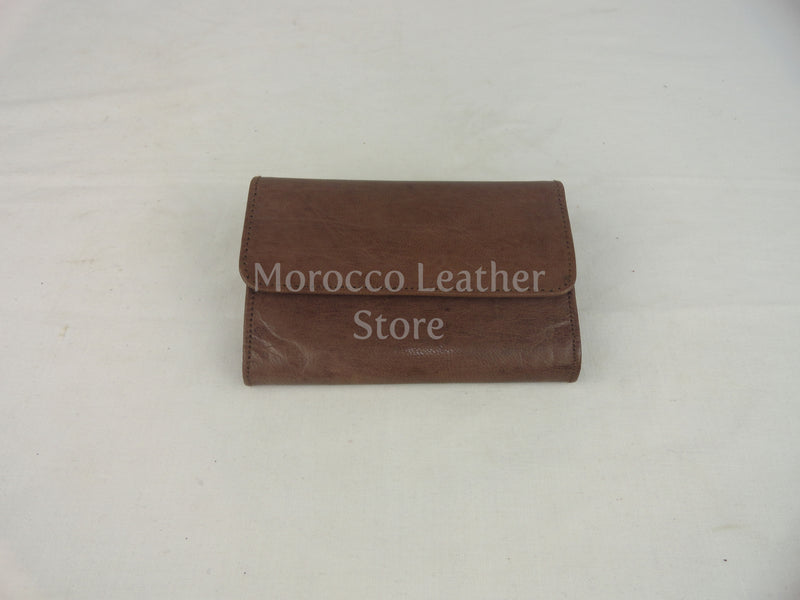 Simple dark brown Authentic leather wallet - Morocco Leather Store