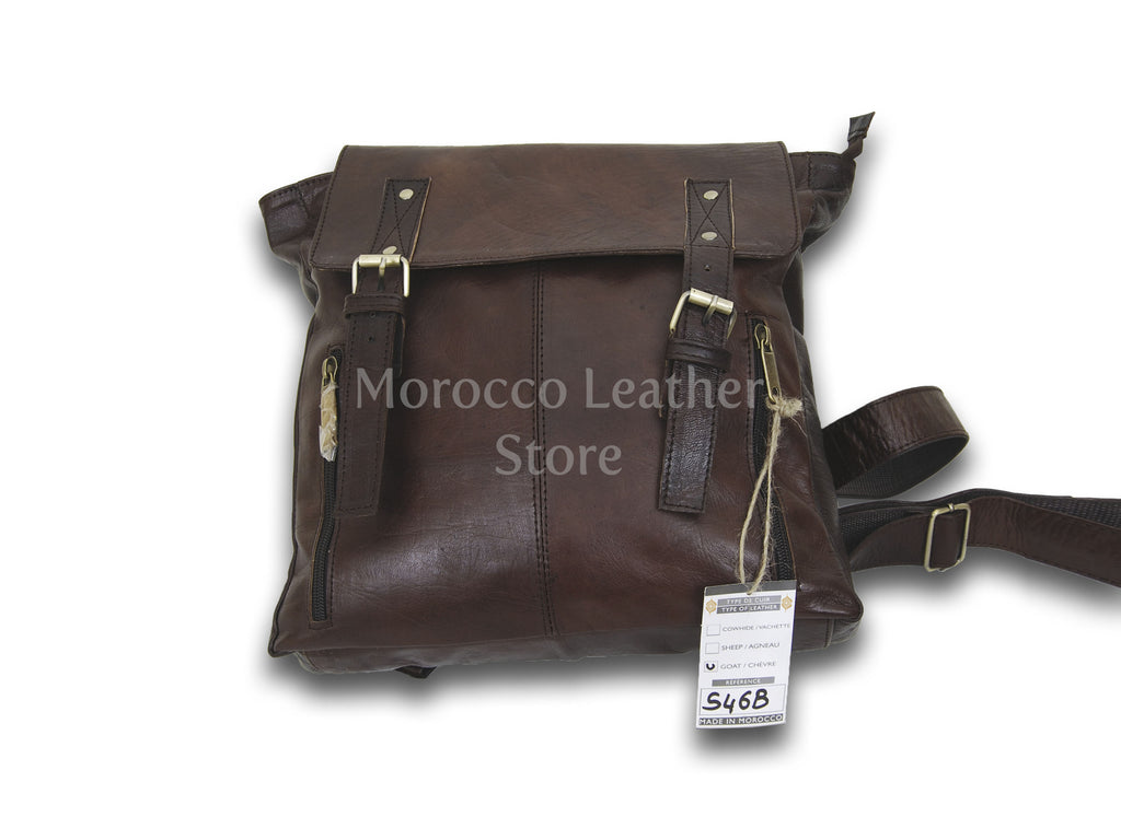 Simple handmade vintage Leather shoulder bag - Morocco Leather Store