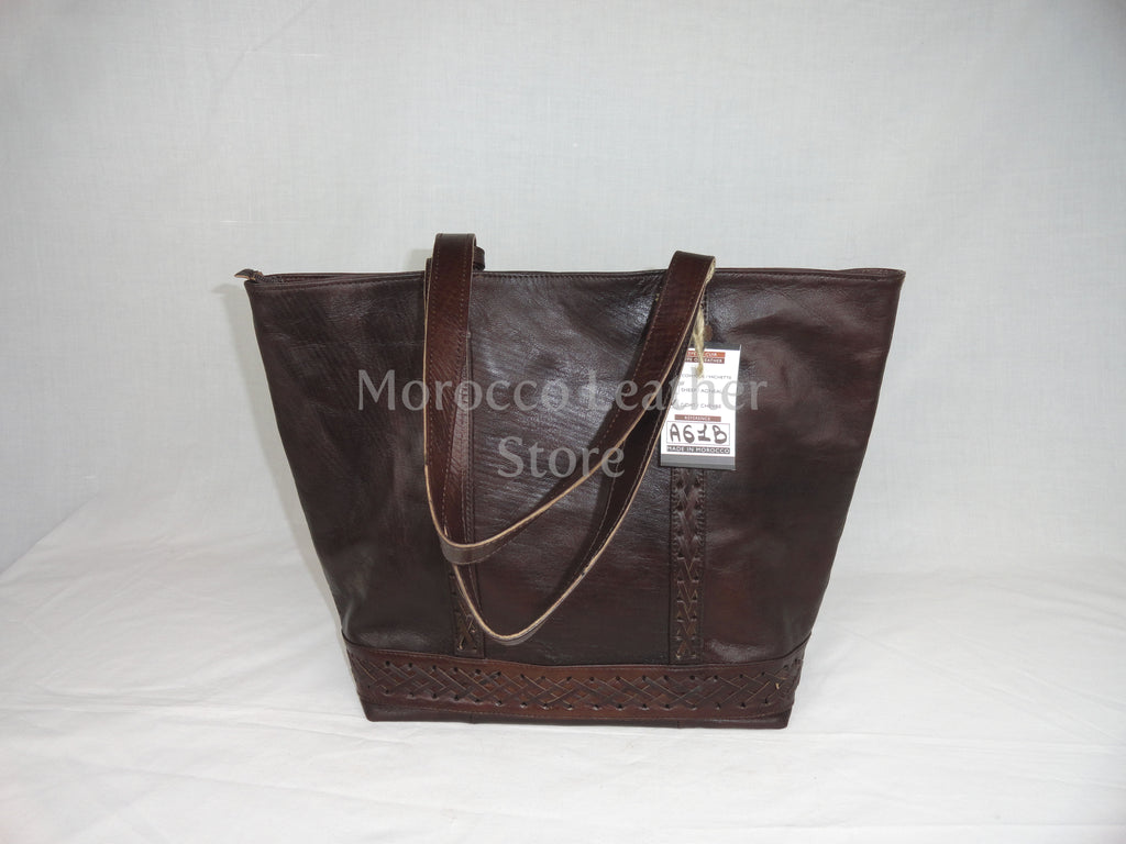 Moroccan dark brown stylish genuine leather tote bag - Morocco Leather Store