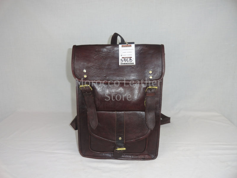 Unisex casual dark brown moroccan leather backpack - Morocco Leather Store