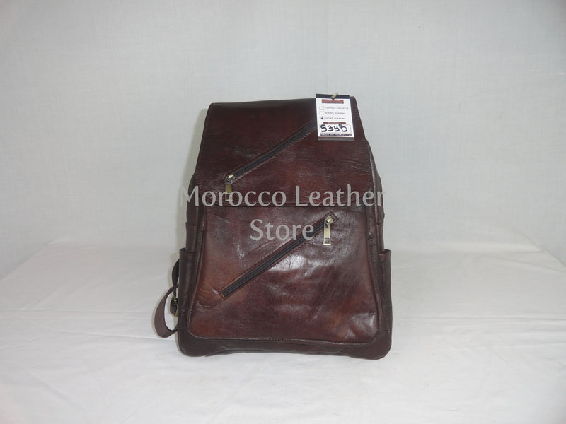 Unisex casual genuine dark brown leather backpack - Morocco Leather Store