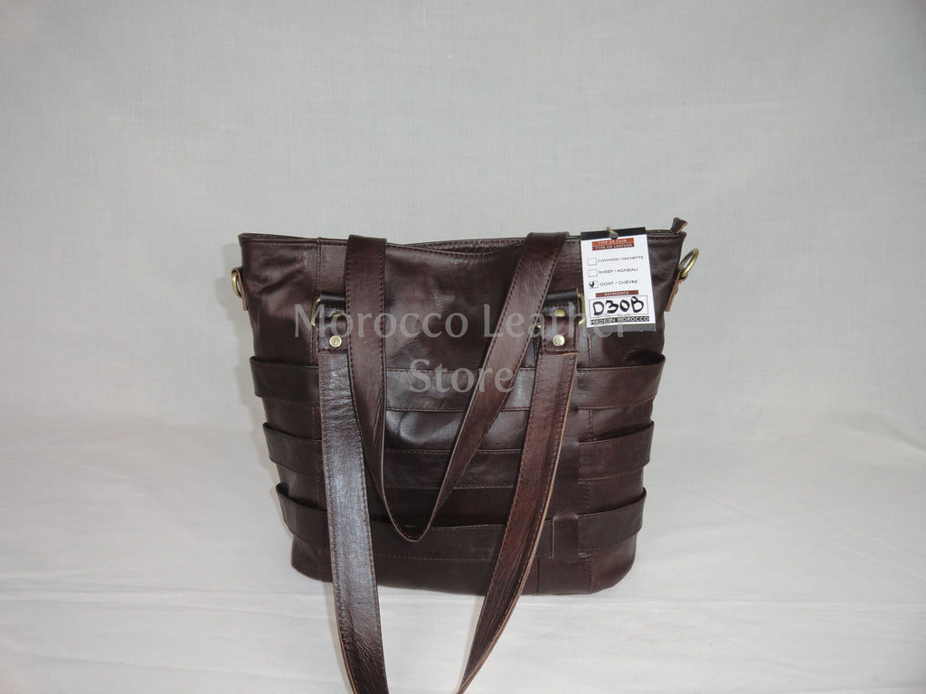 Intermingled dark brown stripes genuine leather Tote bag - Morocco Leather Store