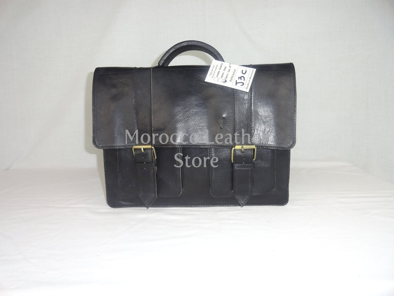 Black classy genuine leather satchel - Morocco Leather Store