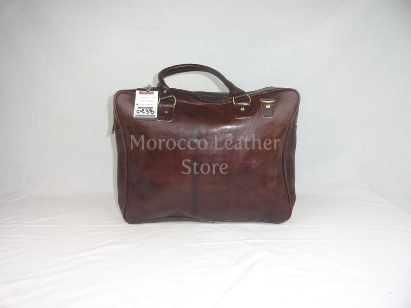 Genuine dark brown Leather laptop bag - Morocco Leather Store