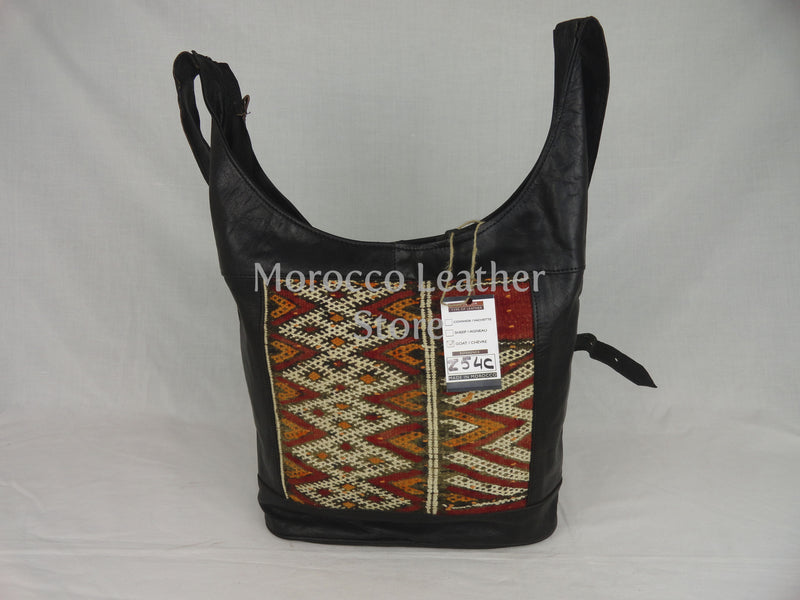 Vintage black moroccan leather tote bag - Morocco Leather Store
