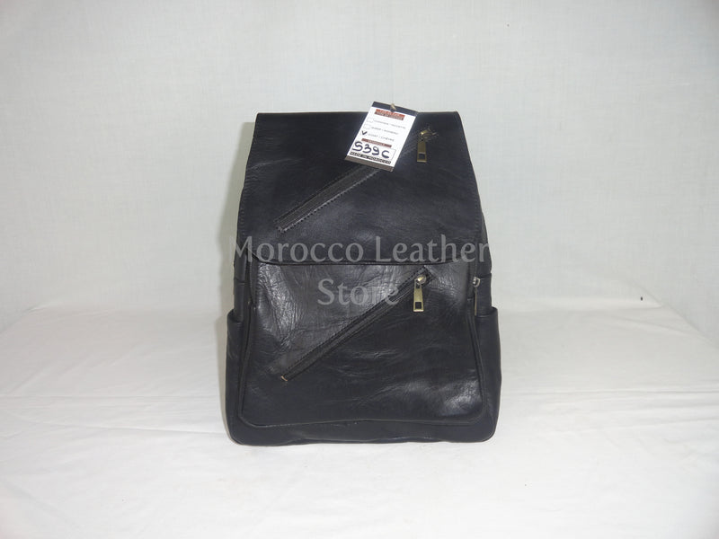 Unisex casual black genuine leather backpack - Morocco Leather Store